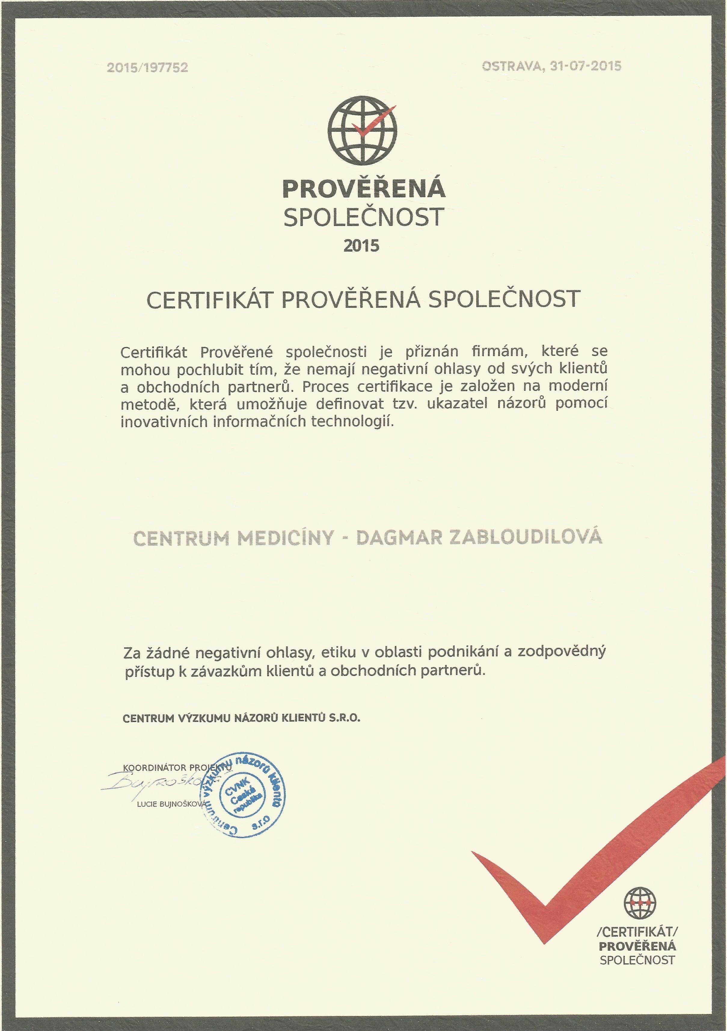 Certifikace kvality společnosti